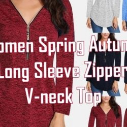 Buy Trendy and Affordable Women Spring Autumn Long Sleeve Zipper V-neck Top